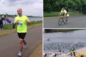 Dave swimming, cycling and running in the triathlon